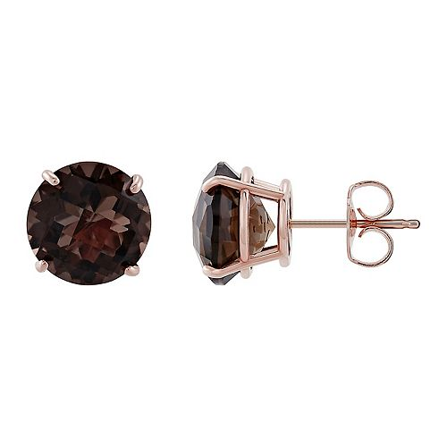 14k Rose Gold Smoky Quartz Checkerboard Stud Earrings