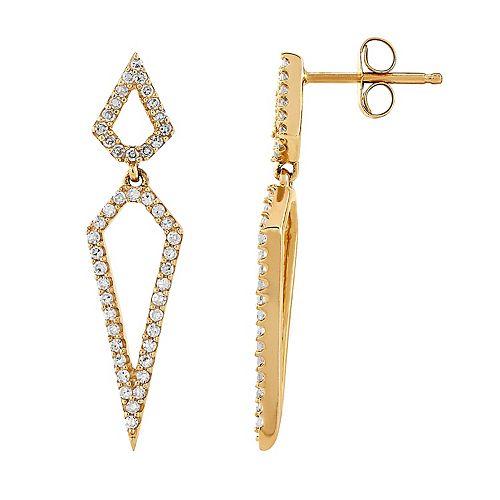 10k Gold 1/3 Carat T.W. Diamond Geometric Earrings