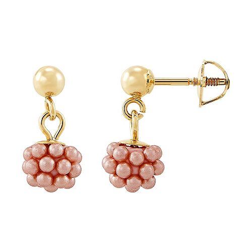 Girls' 14k Pink Simulated Pearl Cluster Earrings