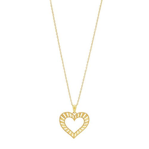 10k Gold Open Heart Pendant Necklace