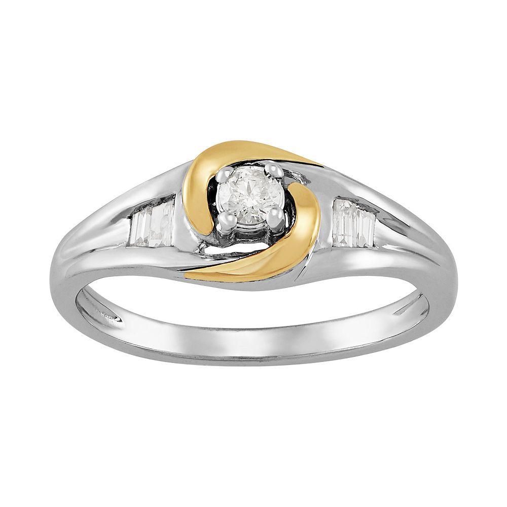 Sterling Silver & 10k Gold 1/5 Carat T.W. Diamond Ring