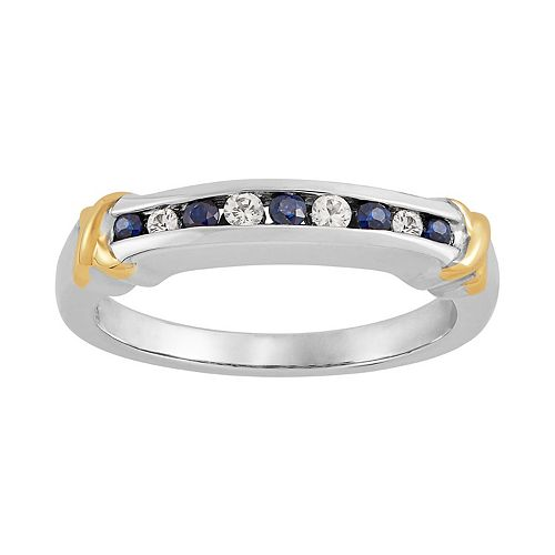 Sapphire & Lab-Created White Sapphire Ring