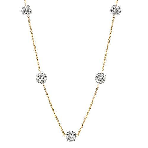 Crystal Fireball Station Necklace