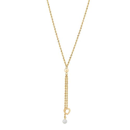 14k Gold Freshwater Cultured Pearl Heart Lariat Necklace