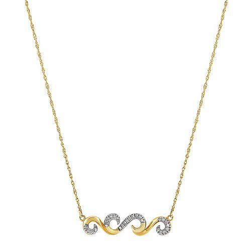 10k Gold Diamond Accent Swirl Necklace