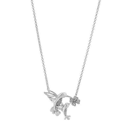Sterling Silver 1/10 Carat T.W. Diamond Hummingbird Necklace