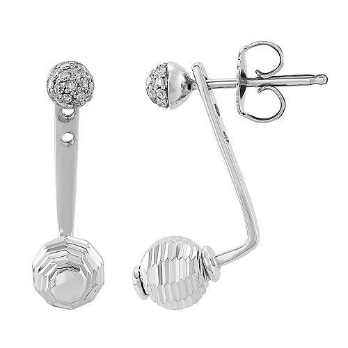 Sterling Silver Bead 1/10 Carat T.W. Diamond Earrings