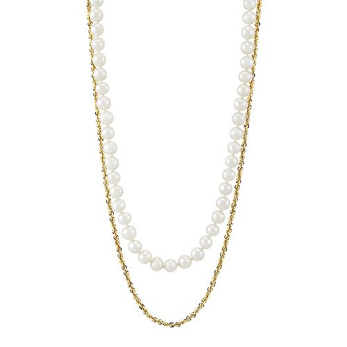 14k Gold Freshwater Cultured Pearl Double Strand Necklace