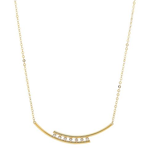 14k Gold Diamond Accent Curved Bar Necklace