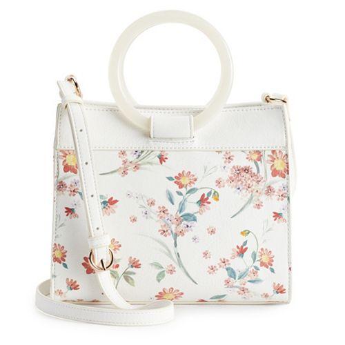 LC Lauren Conrad Hannah Round Handle Crossbody Floral Bag