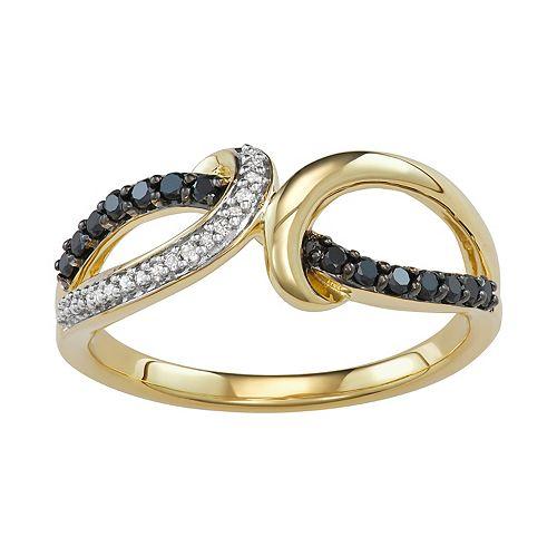 10K Yellow Gold 1/4 Carat Black & White Diamond Ring