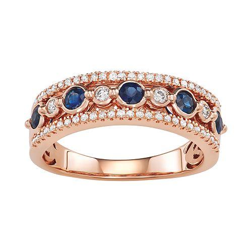 14k Rose Gold 1/4 Carat Diamond & Blue Sapphire Ring