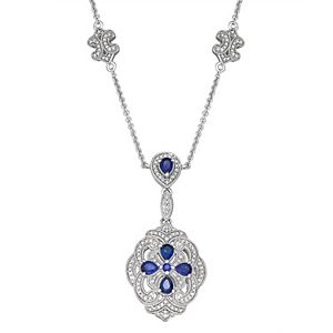 Sterling Silver 3/7 Carat TW Diamond & Lab Created Sapphire Pendant Necklace