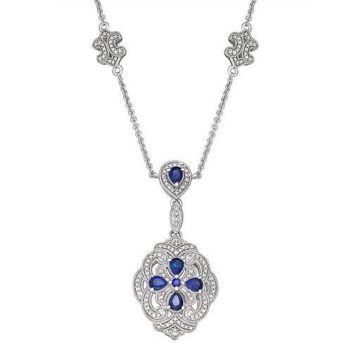 Sterling Silver 3/7 Carat TW Diamond & Lab Created Sapphire Pendant Necklace