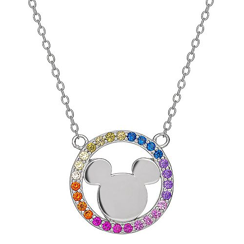 Disney's Mickey Mouse Sterling Silver Rainbow Cubic Zirconia Necklace