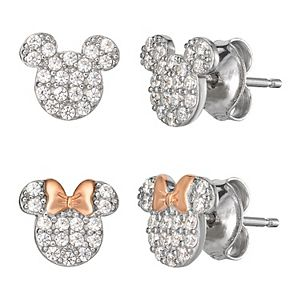 Disney's Mickey & Minnie Mouse Sterling Silver Cubic Zirconia Earring Set