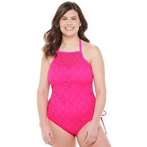 Crochet Overlay High-Neck One-Piece Swimsuit