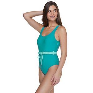 Solid Macrame Belt One-Piece Swimsuit