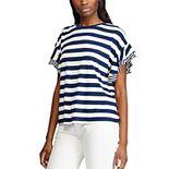 Women's Chaps Striped Ruffle-Sleeve Top