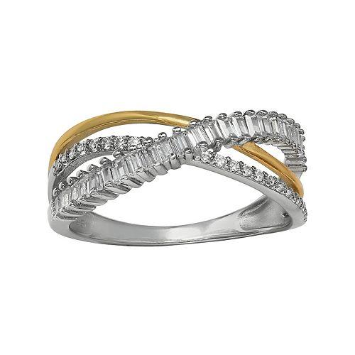 PRIMROSE 18k Gold over Sterling Silver Two-Tone Cubic Zirconia Interlocking Ring