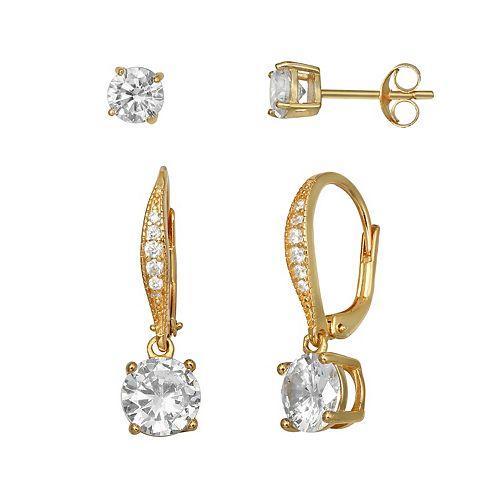 PRIMROSE 18k Gold over Sterling Silver Cubic Zirconia Stud & Drop Earrings