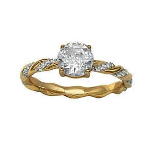 PRIMROSE 18k Gold over Sterling Silver Cubic Zirconia Twisted Ring