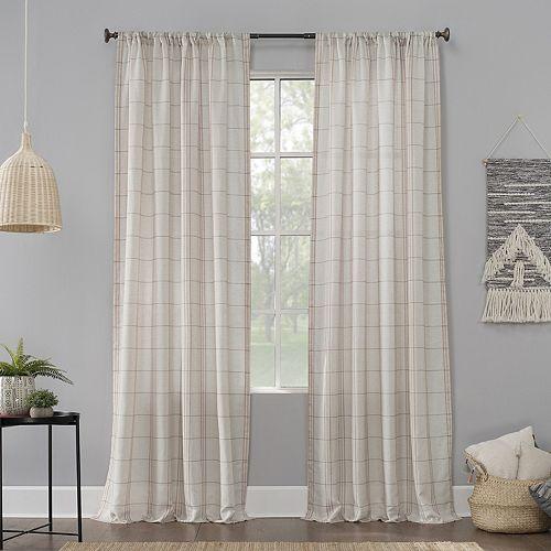 No 918 Castille Farmhouse Plaid Linen Semi-Sheer Rod Pocket Curtain Panel