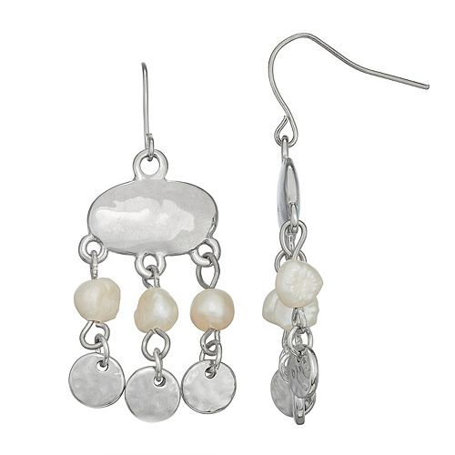 SONOMA Goods for Life™ Hammered Metal & Simulated Pearl Chandelier Drop Earrings