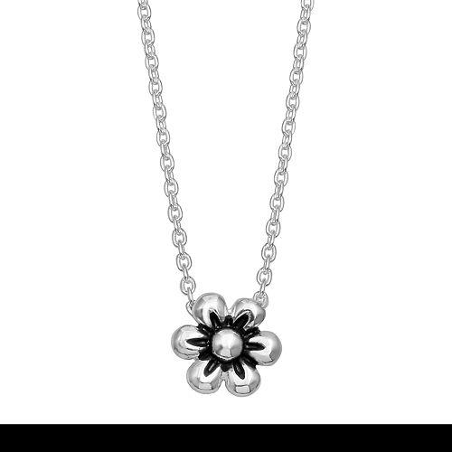 Primrose Sterling Silver Polished Drop Flower Necklace