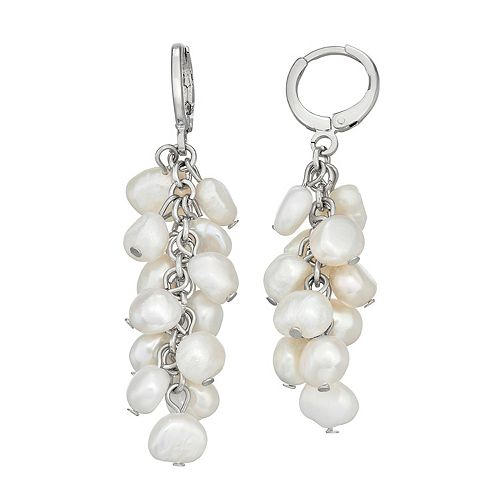 SONOMA Goods for Life™ Silver Tone Simulated Pearl Cluster Drop Earrings