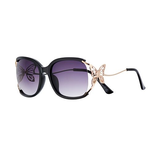 Women's SO® Square Gradient Sunglasses with Butterfly Detail