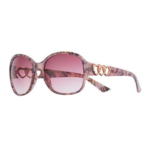 Women's SO® Plastic Rectangle Sunglasses with Open Heart Chain Temple