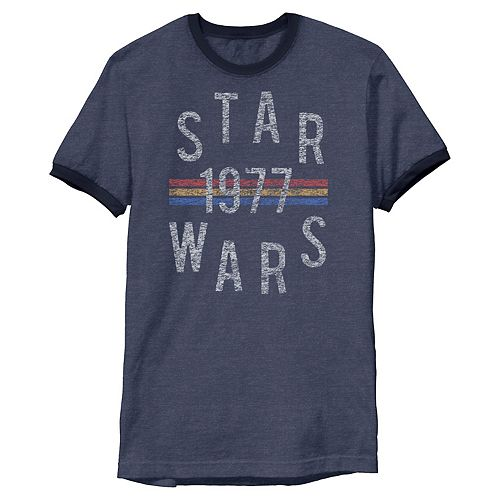 Men's Star Wars Vintage Retro Collegiate Stripes 1977 Graphic Tee
