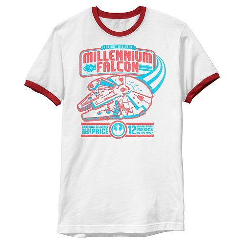 Men's Star Wars Retro Millennium Falcon Red And Blue Logo Graphic Tee