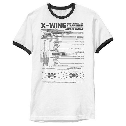 Men's Star Wars X-Wing Schematic Specs Graphic Tee