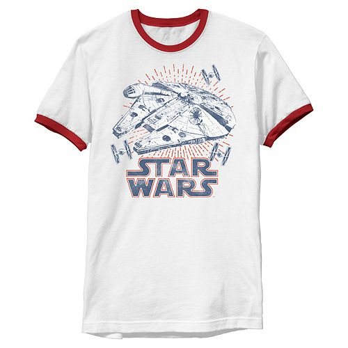 Men's Star Wars Falcon Logo 4th Of July Fireworks Graphic Tee