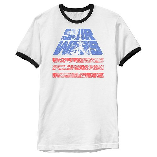 Men's Star Wars Retro Slant Logo Red White & Blue July 4th Graphic Tee