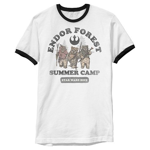 Men's Star Wars Endor Forest Summer Camp Faded Portrait Graphic Tee