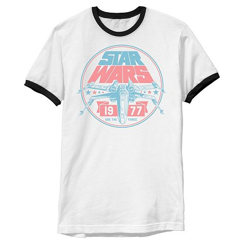 Men's Star Wars Patriotic X-Wing Vintage Badge Graphic Tee