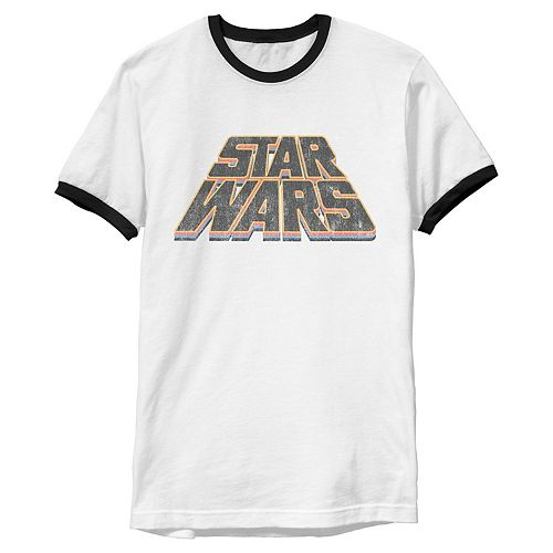 Men's Star Wars Layered Slanted Logo Vintage Style Graphic Tee