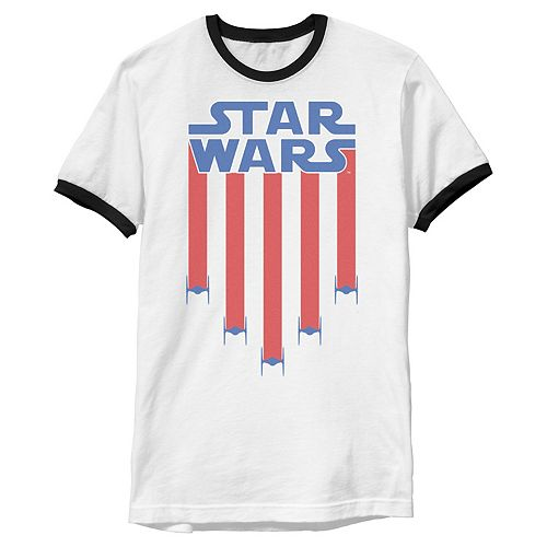 Men's Star Wars Fighter Jets Star Bangled Banner July 4th Graphic Tee