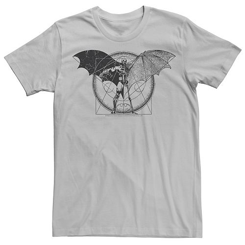 Men's DC Comics Batman Half Skeleton Sketched Poster Tee