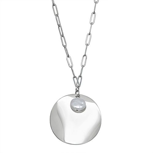 SONOMA Goods for Life™ Hammered Disc & Simulated Pearl Pendant Necklace