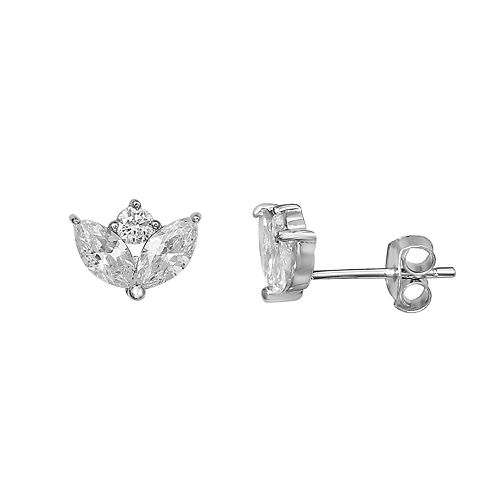 Primrose Sterling Silver Marquise And Round Stud Earrings