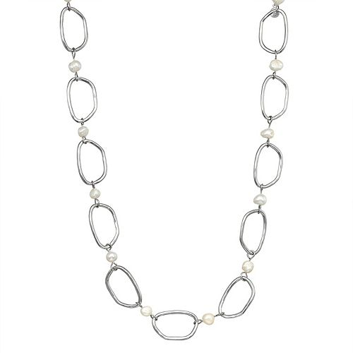 SONOMA Goods for Life™ Silver Tone Irrgeular Rings & Simulated Pearl Necklace