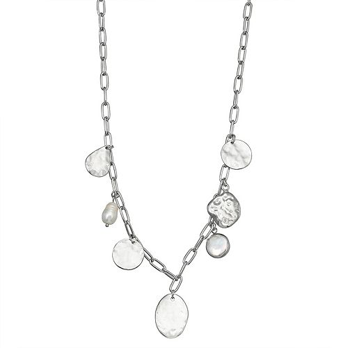 SONOMA Goods for Life™ Hammered Discs & Simulated Pearl Pendant Necklace