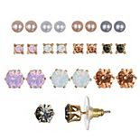 LC Lauren Conrad Simulated Pearl & Simulated Crystal Nickel Free Stud Earring Set