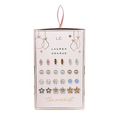 LC Lauren Conrad Flower & Marquis Nickel Free Stud Earring Set