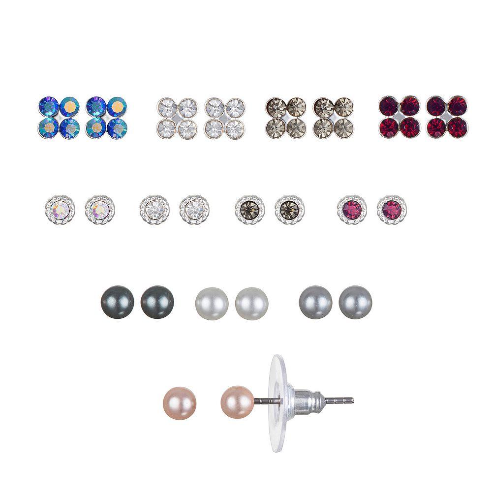 LC Lauren Conrad Simulated Gems & Simulated Pearl Nickel Free Stud Earring Set