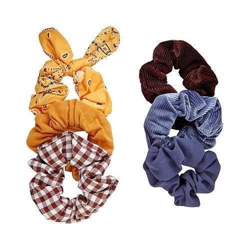 SO® Yellow Bandana Print & Blues Scrunchie Set